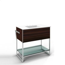 """Adorn 36-1/4"""" X 34-3/4"""" X 21"""" Vanity In Indian Rosewood With Push-to-open Plumbing Drawer, Towel Bar On Left Side, Legs In Brushed Aluminum and 37"""" Stone Vanity Top In Quartz White With Integrated Center Mount Sink and 8"""" Widespread Faucet Holes"""