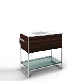 "Adorn 36-1/4"" X 34-3/4"" X 21"" Vanity In Indian Rosewood With Slow-close Plumbing Drawer, Towel Bar On Left Side, Legs In Brushed Aluminum and 37"" Stone Vanity Top In Quartz White With Integrated Center Mount Sink and 8"" Widespread Faucet Holes"