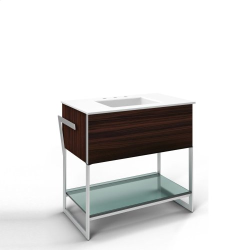 "Adorn 36-1/4"" X 34-3/4"" X 21"" Vanity In Indian Rosewood With Push-to-open Plumbing Drawer, Towel Bar On Left Side, Legs In Brushed Aluminum and 37"" Stone Vanity Top In Quartz White With Integrated Center Mount Sink and 8"" Widespread Faucet Holes"
