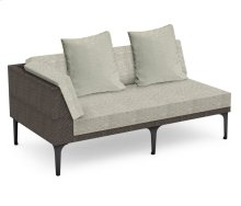 "67"" Dark Grey Rattan Right Two-Seat Sofa Sectional, Upholstered in Standard Outdoor Fabric"