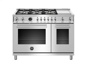 48 inch 6-Burner + Griddle, Electric Self-Clean Double Oven Stainless