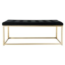 Reynolds Velvet Bench - Black / Brass