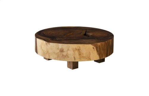 Chamcha Wood Thick Coffee Table, Round