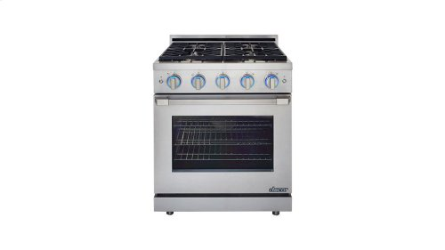 """Renaissance 30"""" Self-Cleaning Gas Range with Pro Style Handle, Freestanding, in Stainless Steel, includes 3"""" Backguard, Natural Gas"""