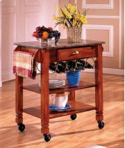 Oak Caster / Marble Kitchen Island Product Image