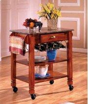 Oak Caster / Marble Kitchen Island Product Image