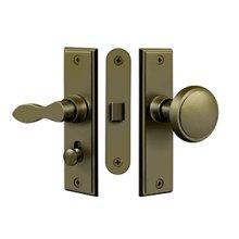 Storm Door Latch, Square, Mortise Lock - Antique Brass