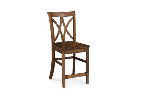 "Hanna Stationary Barstool, Hanna Stationary Barstool, 24""h, Wood Seat"