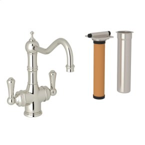Polished Nickel Perrin & Rowe Edwardian Filtration 2-Lever Bar/Food Prep Faucet with Traditional Metal Lever