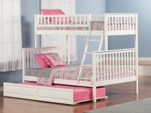 Woodland Bunk Bed Twin over Full with Raised Panel Trundle Bed in White