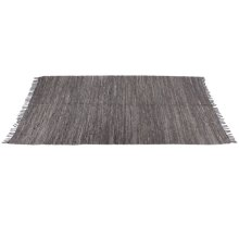 Grey Leather Chindi 5'x8' Rug (Each One Will Vary)