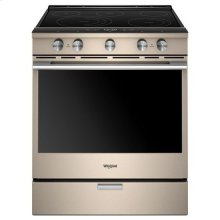 Whirlpool® 6.4 Cu. Ft. Smart Contemporary Handle Slide-in Electric Range with Frozen Bake™ Technology - Print Resist Sunset Bronze