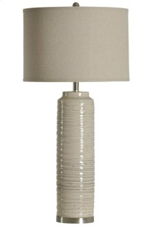 Anastasia ceramic tall table lamp with natural linen shade