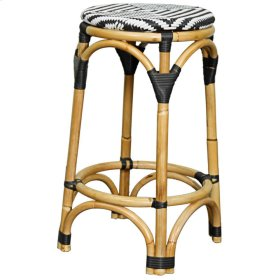 Adeline Rattan Backless Bistro Counter Stool, Black/White