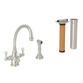 Polished Nickel Perrin & Rowe Georgian Era 3-Lever Kitchen Faucet With Sidespray with Etruscan Metal Lever