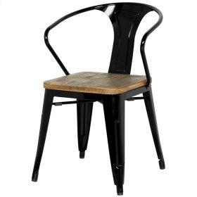 Metropolis Metal Arm Chair Wood Seat, Black