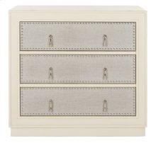 Laputa 3 Drawer Chest - Antique Beige / Light Grey Linen / Nickel