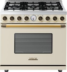 Range DECO 36'' Classic Cream matte, Bronze 6 gas, electric oven, self-clean