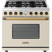 Range DECO 36'' Classic Cream matte, Bronze 6 gas, electric oven, self-clean