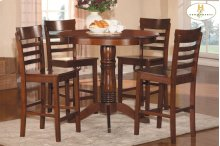 5-Piece Pack Counter Height Set Table : 42 Dia x 36H Chair : 18 x 19.25 x 40H