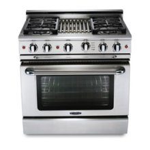 "36"" six burner NATgas manual-clean range   convection oven - LP available"