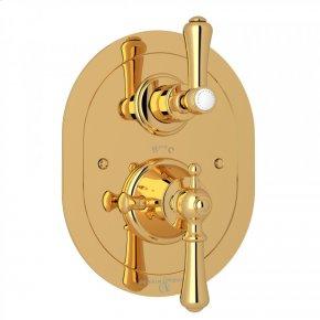 English Gold Perrin & Rowe Georgian Era Oval Thermostatic Trim Plate With Volume Control with Georgian Era Solid Metal Lever