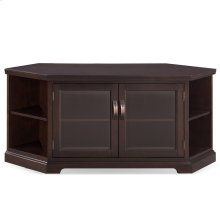 "Chocolate Cherry & Bronze Glass 56"" Corner TV Console with Bookcase/Display #81387"