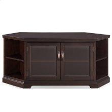 "Chocolate Cherry & Bronze Glass 56"" Corner TV Console with Bookcase/Display #81387"