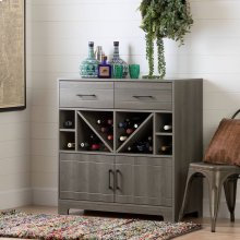 Bar Cabinet and Bottle Storage - Gray Maple