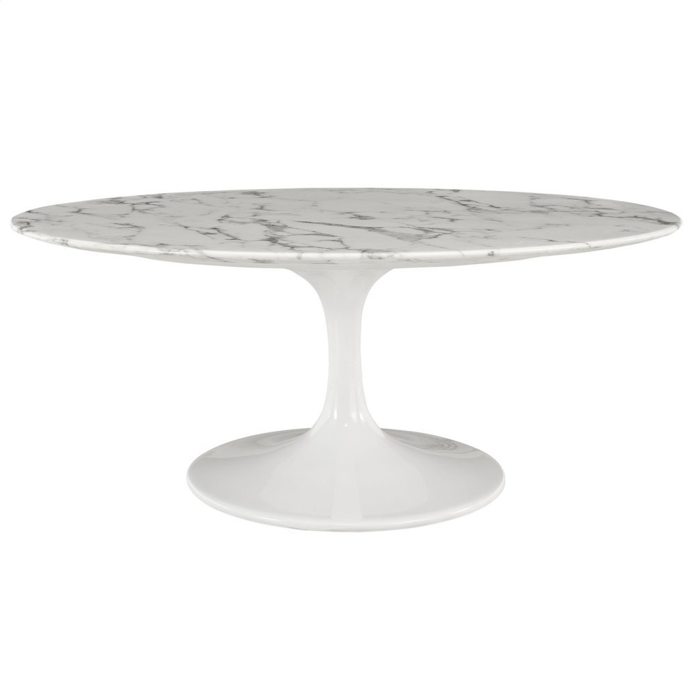 """Lippa 42"""" Oval-Shaped Artificial Marble Coffee Table in White"""