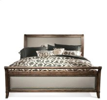 Belmeade Full/Queen Sleigh Upholstered Headboard Old World Oak finish