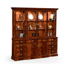 Triple Mahogany Display Cabinet with Octagonal Glazing Bars