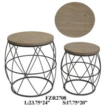 METAL STOOL W/ WOOD TOP, SET OF 2, 23.75X23.75X24, 1PK 9.55'