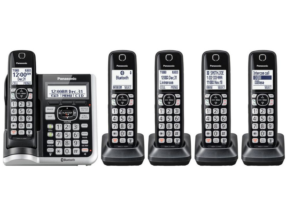 Link2Cell Bluetooth(R) Cordless Phone with Answering Machine - 5 Handsets - KX-TGF575S  SILVER