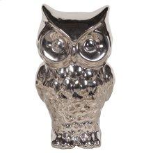 Nickel Plated Ceramic Owl