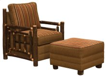 Upholstered Ottoman Hickory Log, Standard Leather