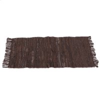 Brown & Black Leather Chindi 2'x3' Rug (Each One Will Vary). Product Image