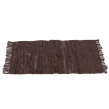 Brown & Black Leather Chindi 2'x3' Rug (Each One Will Vary).