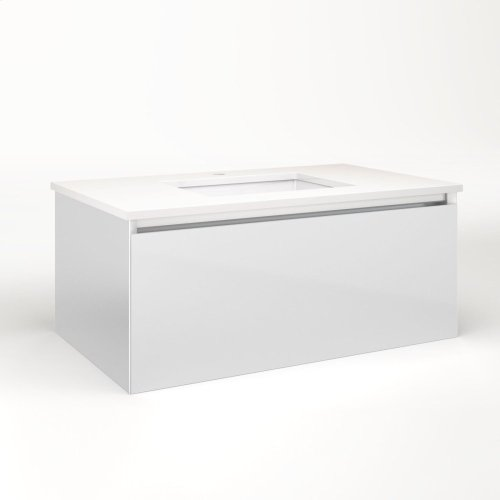 """Cartesian 36-1/8"""" X 15"""" X 21-3/4"""" Single Drawer Vanity In Satin White With Slow-close Plumbing Drawer and No Night Light"""