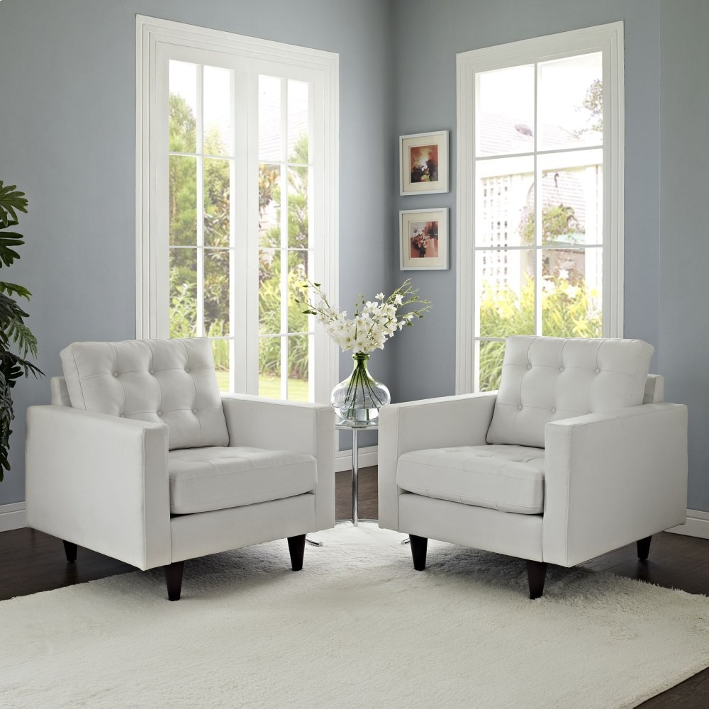 Empress Armchair Leather Set of 2 in White