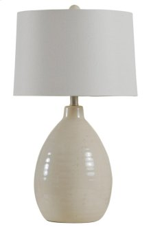 Traditional gord shape ceramic table lamp in Sandstone Natural linen drum shade