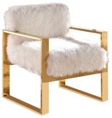 """Milo White Fur Accent Chair - 28.5""""L x 27.5""""D x 31""""H"""