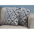 "PILLOW - 18""X 18"" / DARK BLUE MOTIF DESIGN / 2PCS Product Image"