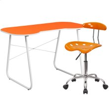 Orange Computer Desk and Tractor Chair