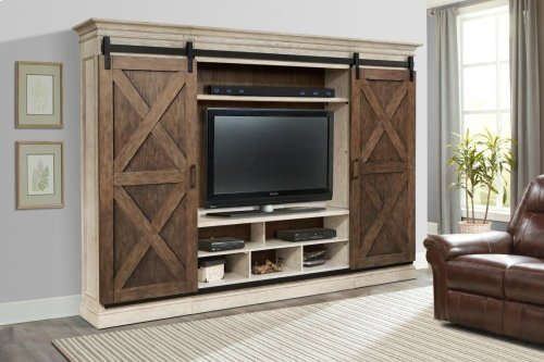 5pc Sliding X Barn Door Entertainment Wall
