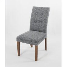 Striped fabric not allowed on this style. Wood leg chair with 4 buttons in ISB seat