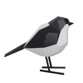 "Resin 5.25"" Bird W/ Metal Feet, Black & White"
