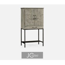 Rustic Grey Drinks Cabinet with Iron Base
