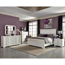 Furiani Transitional White California King Five-piece Set