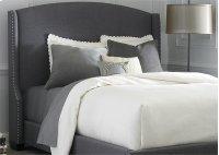 Wing Shelter Upholstered Headboard King - Dark Grey Linen Product Image